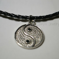 Yin Yang Braided Cord Necklace