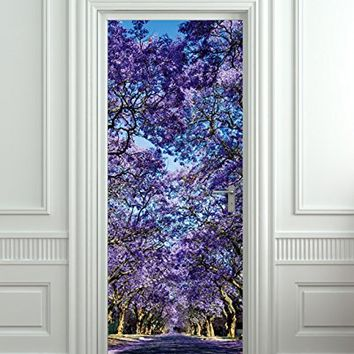 """Wall Door LAMINATED STICKER purple forest alley flowers poster, mural, decole, film 30x79"""" (77x200 Cm)"""