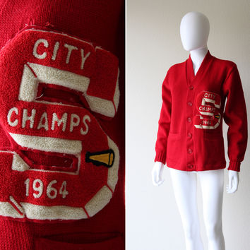 Vintage 60s City Champs Varsity Letterman Boyfriend Sweater Cardigan