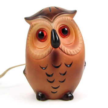 Night Owl - Vintage Owl Lamp by Josef Originals, Ceramic Owl Night Light with Glowing Eyes, Great Kid's Room or Nursery Decor