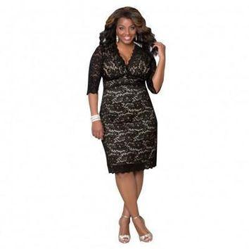 Black Lace Fashion Plus Size Summer Dresses