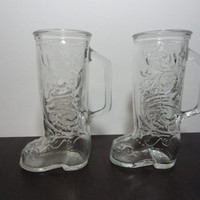 Vintage Cowboy Boot Shaped Pressed Glass Mugs - Set of Two Tall Glass Mugs/Beer Mugs with Pressed Glass Design