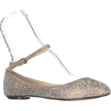Blue by Betsey Johnson Joy Ankle Strap Sparkle Flats, Champagne, 9 US