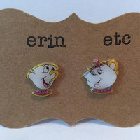 Handmade Plastic Fandom Earrings - Cartoon - Mrs Potts & Chip