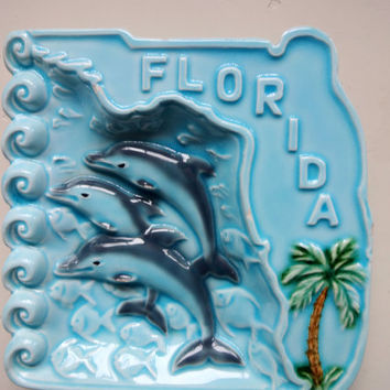Vintage Florida Souvenir Ceramic Ashtray 1970s