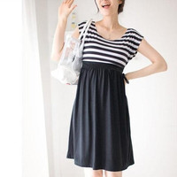 New 2013 pregnant clothes maternity casual dress plus size stripe cotton 100% one-piece dresses gravida = 1957981124