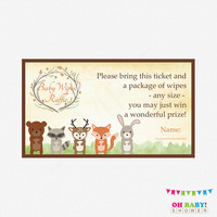 Woodland Baby Shower, Raffle Ticket, Baby Wipes Raffle Sign and Raffle Cards, Gender Neutral Animals Baby Shower Printables, Boy Girl, WD01