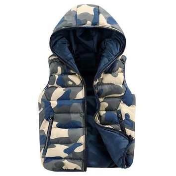 DCCK8JO Autumn Winter Men Camouflage Blue Hoodies Vest Outwear Cotton Waistcoat Sleeveless Jacket Coat