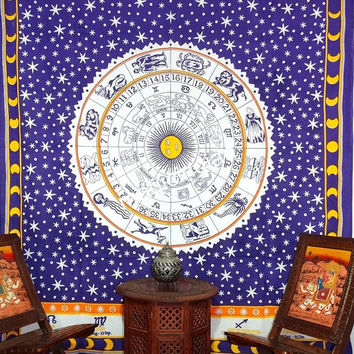 Blue Star Astrology Tapestry Wall Hanging, Zodiac Tapestries, indian Hippie Tapestries, Ethnic Wall Hanging, Zodic mandala tapestry Wall Art