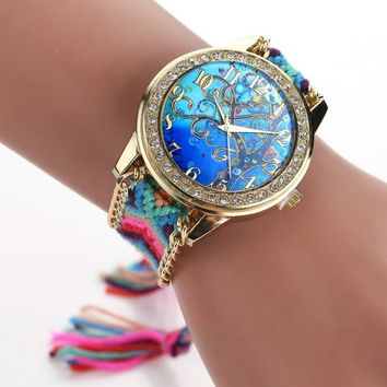 Fashion Women's Ladies Braided Band Rhinestone Analog  Wrist Watches