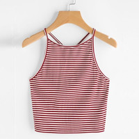 Women Fashion Sexy Striped Tank Top Sleeveless Strappy Crop Top T-Shirt Tops Tees Camis #421 SM6