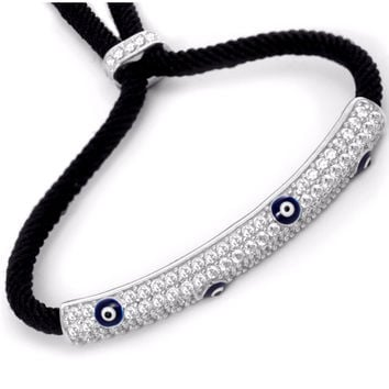 Adjustable String Evil Eye Bracelet w/ CZ - Sterling Silver