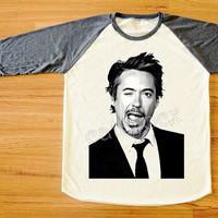 Robert Downey Jr T-Shirts RDJ Shirts Iron Man Wink Face Shirt Long Sleeve Women Shirt Men Shirt Unisex Shirt Baseball Shirt Raglan Tee S,M,L