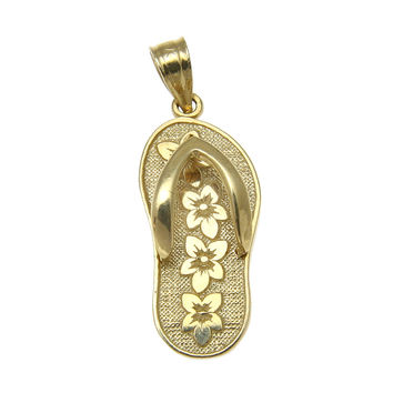 SOLID 14K YELLOW GOLD HAWAIIAN SLIPPER FLIP FLOP THONG 4 PLUMERIA CHARM PENDANT