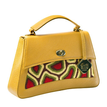 TATI BODUCH Designer Handbag, JASPER Collection, genuine leather: mustard, knitwear: green