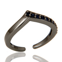 Oxidized Sterling Silver and Blue Sapphire Designer Midi Ring