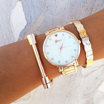 Braided Shackle Watch and Bracelet Set