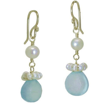 Pearl and Blue Chalcedony Rose Gold Earrings
