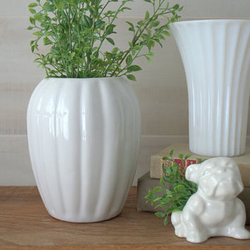 White Geometric Vase, Fluted Milk Glass Vase, White Ceramic Modernist Vase