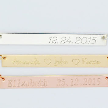 Personalized Bar Necklace, Gold Bar Necklace, Horizontal Bar Necklace, Monogram Bar, Bridesmaid Gift Necklace, Engraved Necklace Bar, 5x50