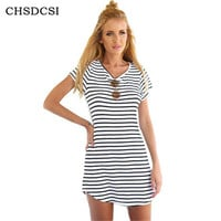 Female Work Sundress Loose Black White Striped Dress Woman High Quality O Neck Summer Beach Dress Plus Size Women Clothing S200