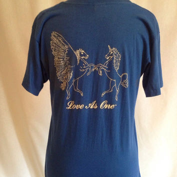 "Vintage 70s 80s Pegasus and Unicorn ""love as one"" vintage shirt size small"