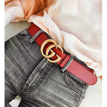 GUCCI Woman Fashion Casual Classic Smooth Buckle Belt Leather Belt G
