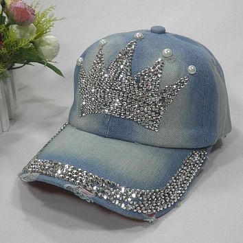 2015 Hot Crown Fashion!Summer handmade design hats Women cotton casual baseball caps rhinestone washed denim cowboy caps