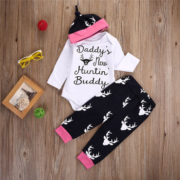Christmas baby Top Casual baby girl clothes newborn long sleeve Letter Bodysuit Pant + lovely hat clothing