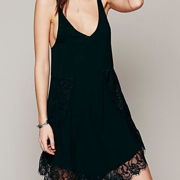Black V-Neckline Lace Hem Asymmetric Loose Fitting Mini Dress