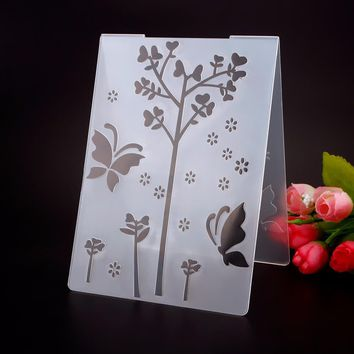 Plastic Embossing Folder Tree Grass Butterly Template DIY Scrapbooking Card Making Decoration Papercraft #230601