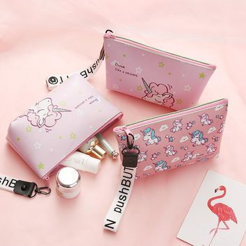 Cartoon Unicorn pencil case cute plant large capacity waterproof Portable pen bag stationery pouch kids gift school supplies