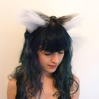 Wolf Ears Headband - Grey Faux Fur
