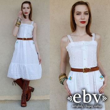 Vintage Hippie Dress Vintage 70s White Eyelet Embroidered Sun Dress S M Hippie Wedding Dress