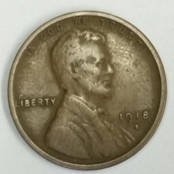 1918-S Lincoln Wheat Cent, Amazing Detail, Wheat Lines, Suit, Low Mintage, Rare Coin, Vintage