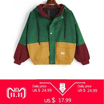 ZAN.STYLE Winter Warm Color Block Hooded Corduroy Jacket Drawstring Hit Color Patched Pocket Thick Basic Women Coat Harajuku New