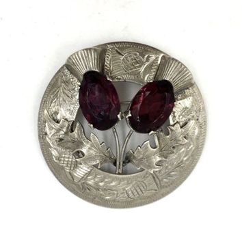 Ward Brothers Scottish Double Thistle Sterling Silver Amethyst Brooch Pin