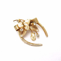 Horseshoe Brooch Pearl Rhinestone Vintage Jewelry Wedding