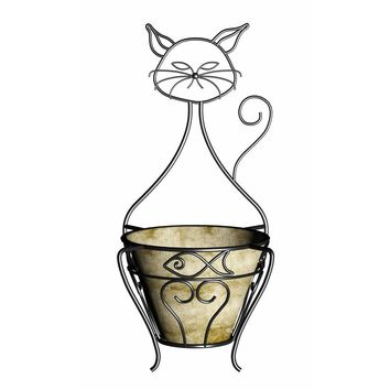 Cat Planter with Coco Liner-81013 at The Home Depot