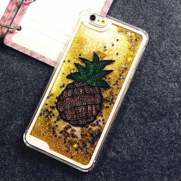 2015New Fruit Pineapple Glitter Stars Dynamic Liquid Quicksand Transparent Cover case phone case for Iphone 5S / 6 / 6Plus YC780