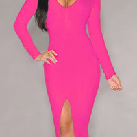 Pink Long Sleeve Slit Front Bodycon Dress