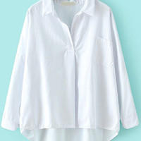 White Shirt Collar Pocket Long Sleeve Blouse