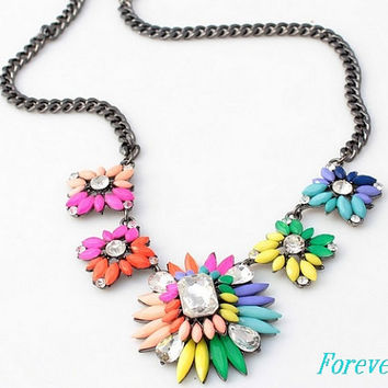 Jcrew Inspired Colorful Mix Statement Necklace, Fashion Necklace, Luxurious Bubble Bib Necklace JCrew Jewelry kate spade necklace beadwork