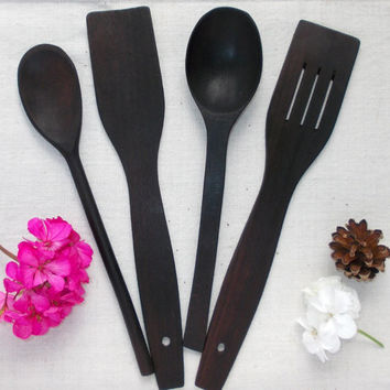 Wood utensil Serving set Wood spoons and wooden spatulas Kitchen utensils set 4 Piece Stirring Spoon Tasting Spoon Cooking  Walnut Houseware