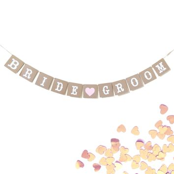 Bride and Groom Wedding Banner Photo Prop, Kraft and White Pink Heart Garland