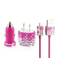 WorryFree Gadgets Rhinestone Glitter Micro USB Samsung Motorola HTC Android Blackberry Droid Nexus Travel Charger Set (Pink)