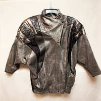 80's Roberto Cavalli Small Grey, Silver and Black Leather Jacket, Made in Italy, 80s Leather Jacket