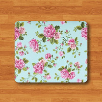 Green Mint Floral PINK ROSE Flower Mouse Pad Hand Draw Vintage Lace Art Desk Deco Rubber MousePad Office Gift Computer Pad Personalized Gift