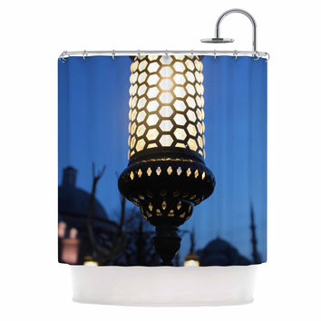 """Theresa Giolzetti """"The Light Of The Roman Empire"""" Black Gold Shower Curtain"""