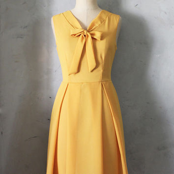 MADELINE - MUSTARD Yellow scarf neck tie dress// retro // vintage inspired // pleated skirt // bridesmaid dress // garden // mod